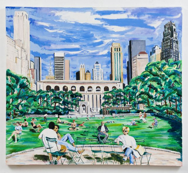 """Last Sunday In July Bryant Park, NYC."" oil on canvas 70"" x 75""  photo D James Dee"